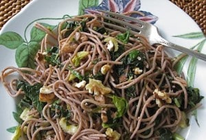 Pasta with Celery, Kale, and Walnut Gremolata