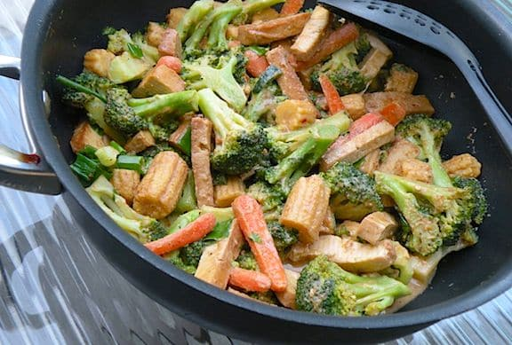 Thai broccoli and tofu with peanut satay sauce