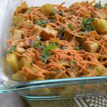 Potato and tofu with green chilies casserole