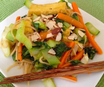 hoisin-glazed bok choy with tofu and soba noodles from Wild About Greens