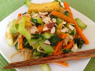 hoisin-glazed bok choy with tofu and soba noodles