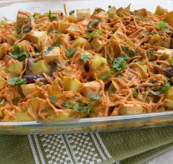 Potato and tofu with green chilies casserole recipe