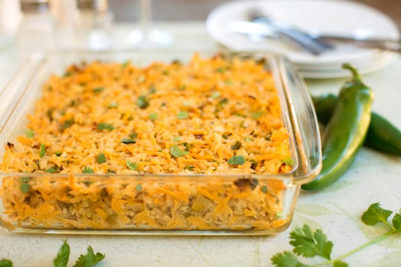 Baked rice with vegan cheese and green chiles