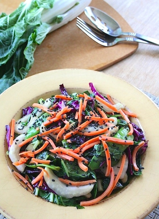 Bok Choy salad with snow peas