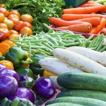 Colorful vegetables at farm market