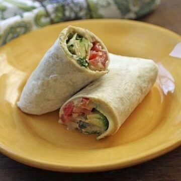 vegan hummus, cucumber, and avocado wraps