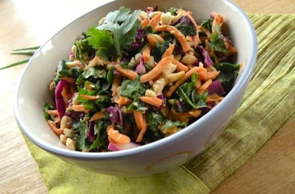 Raw kale and sweet potato salad