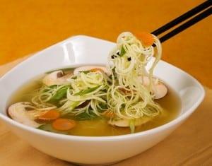 "Raw zucchini ""ramen"" noodle soup"