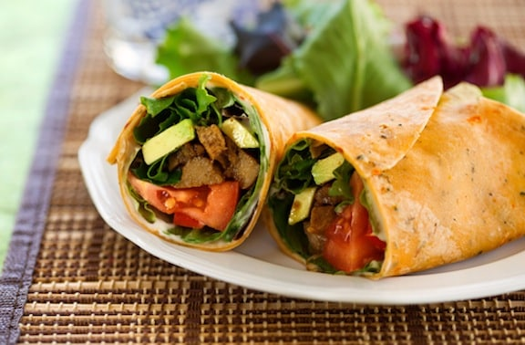 BBQ-flavored seitan and avocado wraps