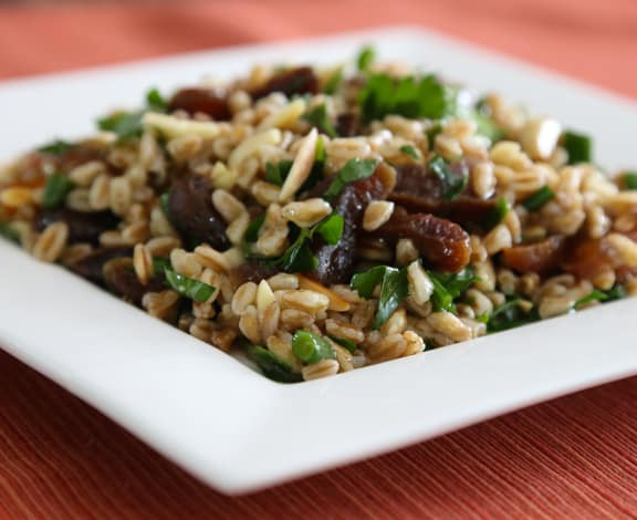 Barley or farro salad with almonds and apricots