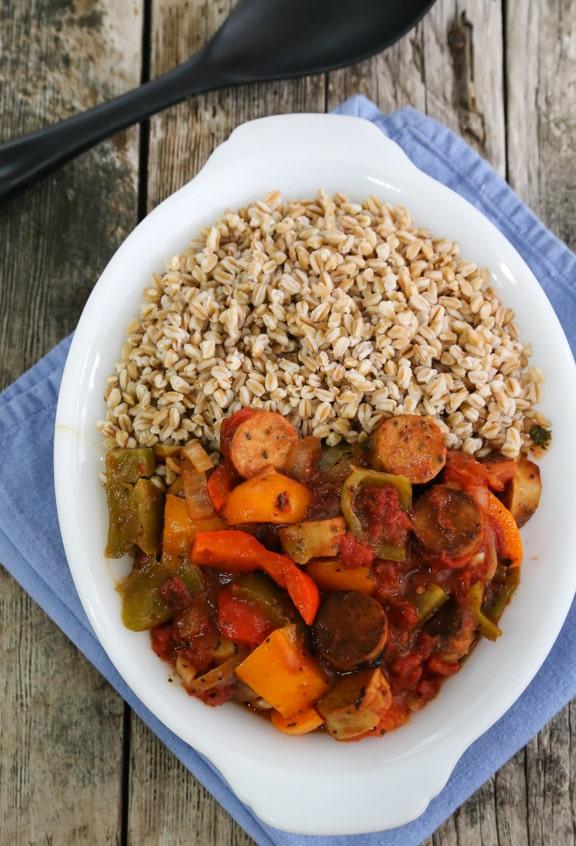 Chorizo y pimientos veganos al estilo italiano