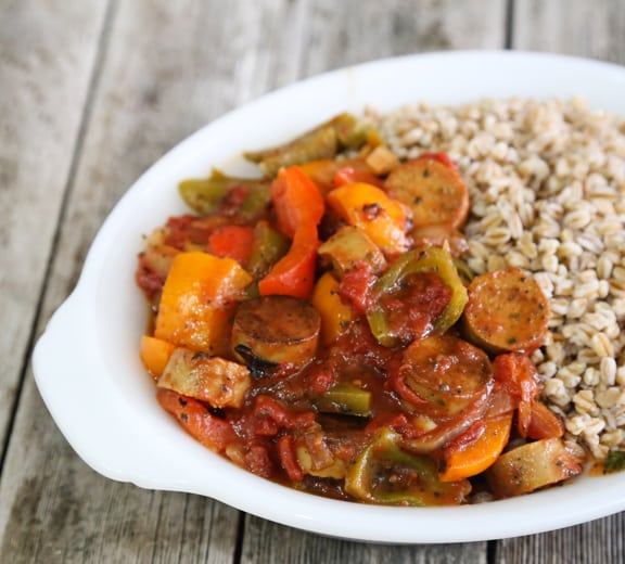 Italian-style vegan sausage and peppers recipe