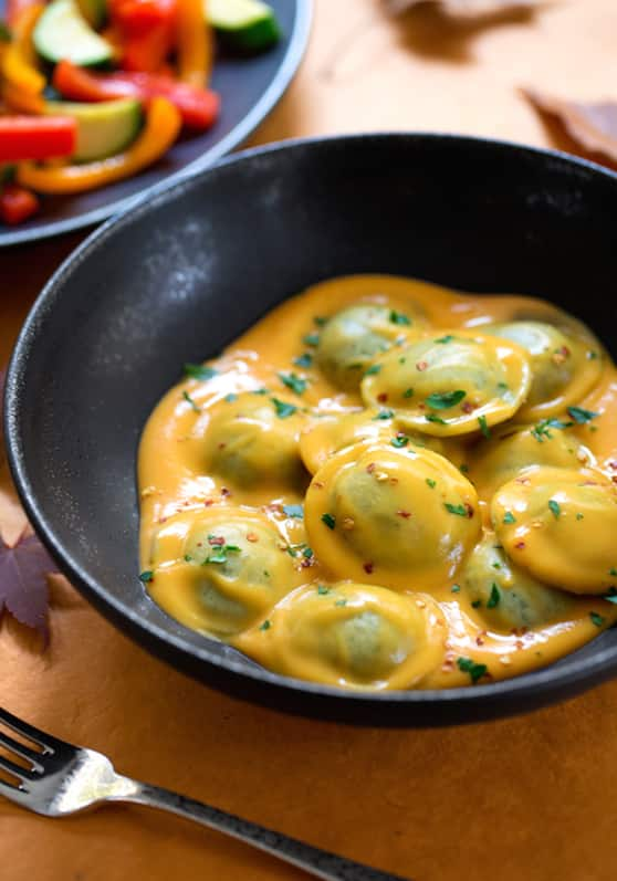 Ravioli in sweet potato sauce