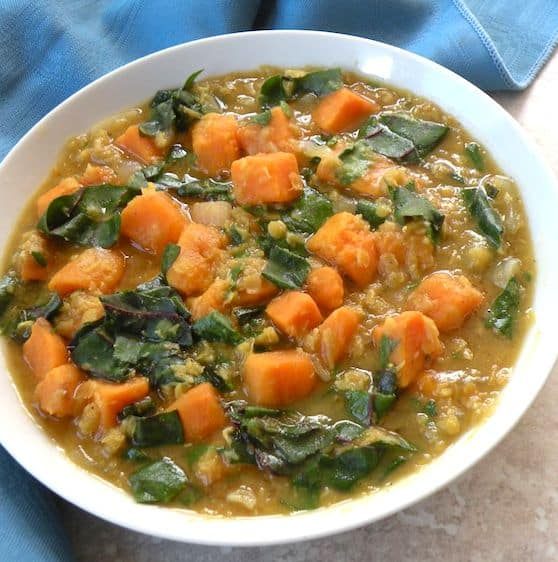 Red lentil soup with sweet potatoes and greens recipe