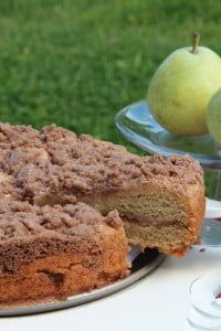 Gluten-free and vegan pear coffee cake