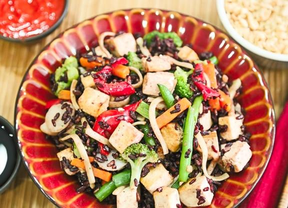 Black rice and vegetable stir-fry