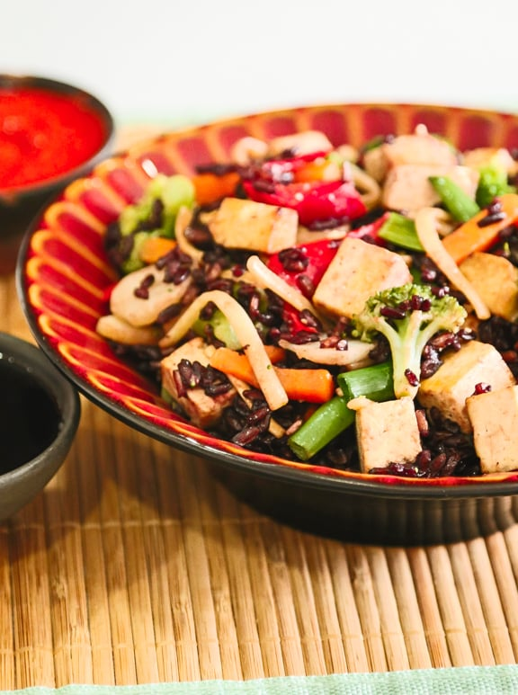 Black rice and vegetable stir-fry recipe