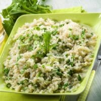 Baked risotto with arugula recipe