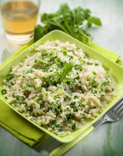 Baked risotto with arugula