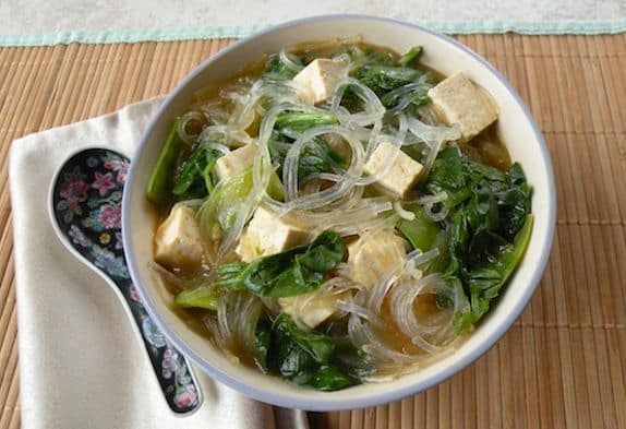 Tofu Vegetable Soup With Bean Thread Noodles