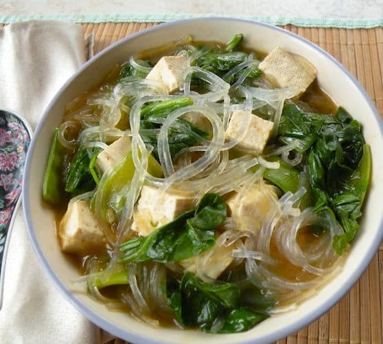 Bean thread noodle soup with tofu and spinach