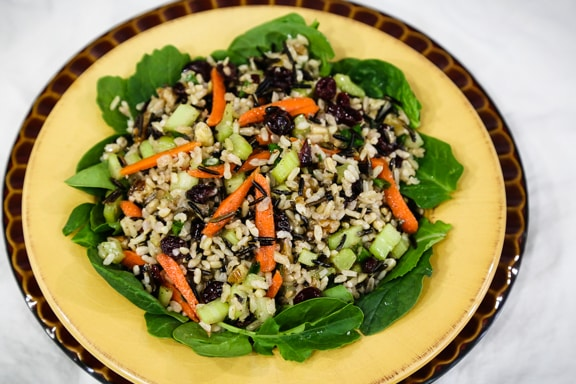 Wild rice salad with cranberries and walnuts