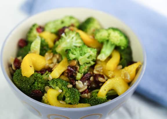 Broccoli Salad with Yellow Peppers and Cranberries