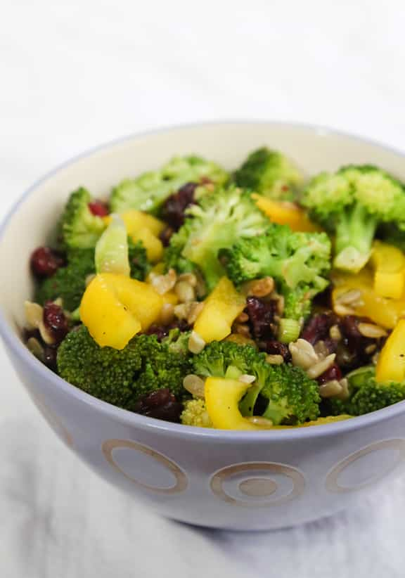 Broccoli Salad with Yellow Peppers and Cranberries recipe