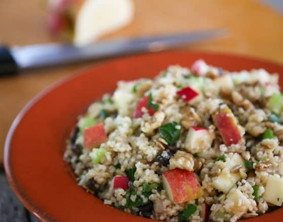 Bulgur salad with fruits and nuts grain salad