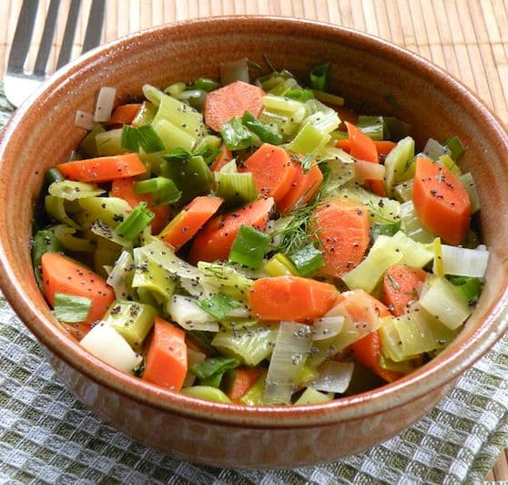 Sautéed leeks and carrots