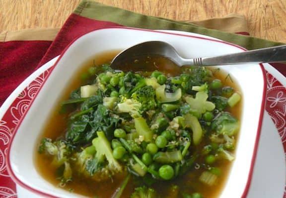 Quick Green Veggie soup with couscous or quinoa