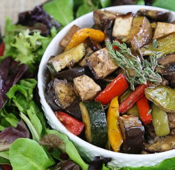 Tofu with Balsamic-Roasted Italian Vegetables