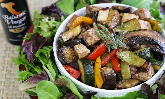 Tofu with Balsamic-Roasted Italian Vegetables
