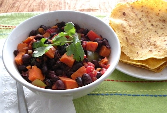 Quick black bean and sweet potato chili recipe
