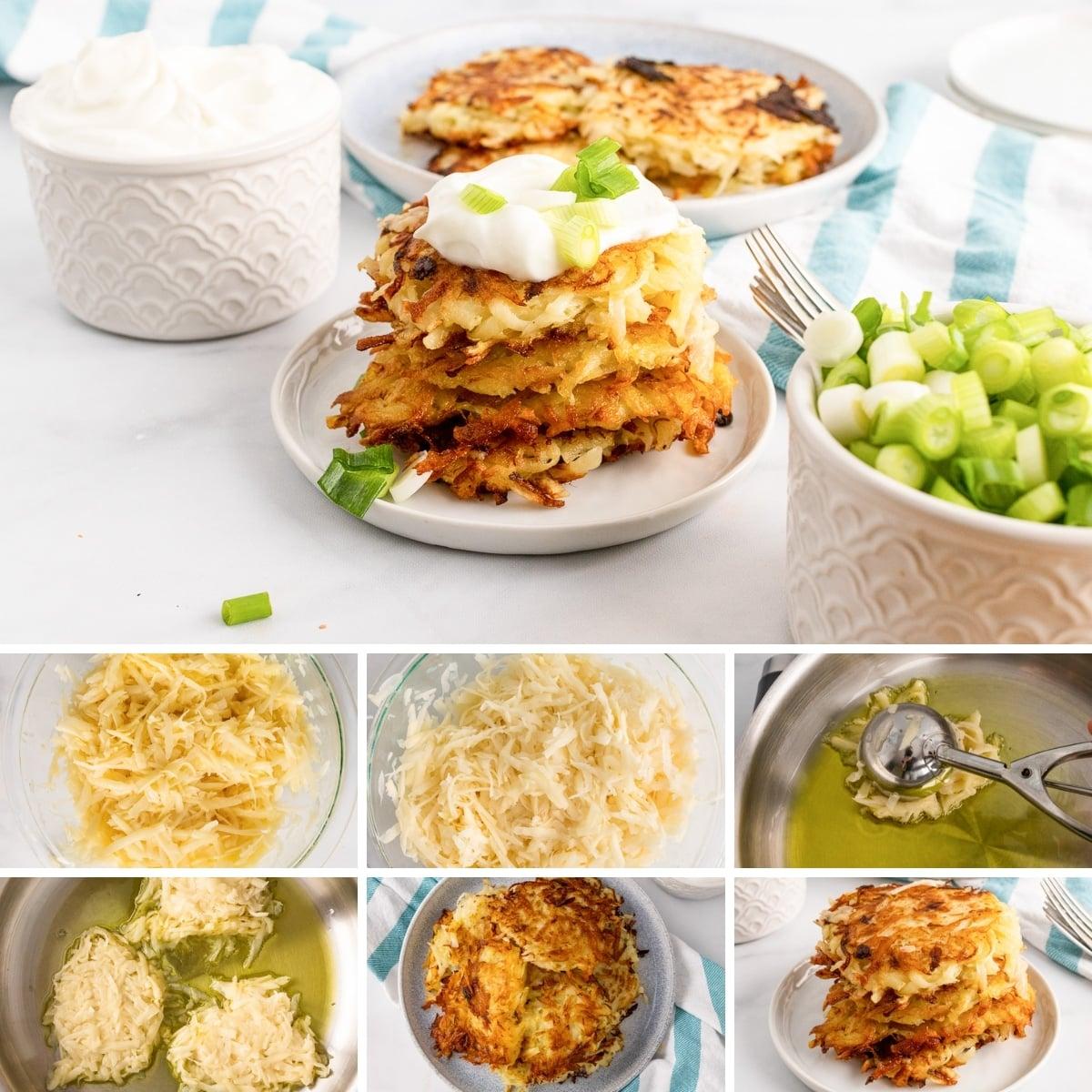 how to make vegan potato pancakes collage