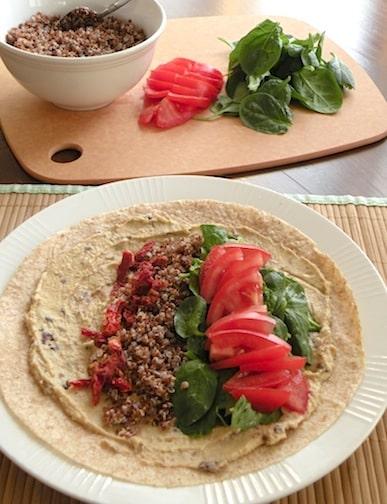 hummus and quinoa wrap