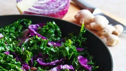Kale and red cabbage stir fry