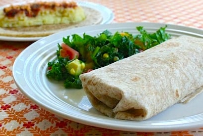 Vegan mashed potato burritos and southwestern kale salad