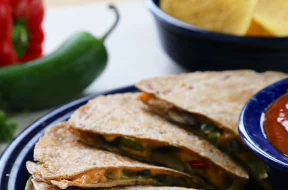 Mushroom and bell pepper vegan quesadillas