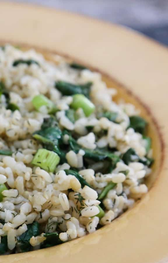 Simple Spinach and Dill Brown Rice Pilaf