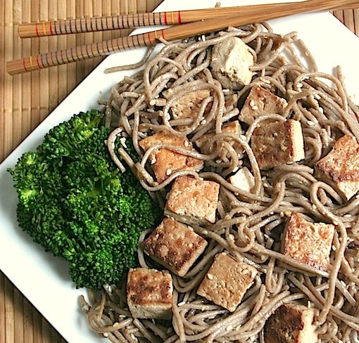 Simple sesame soba noodles with sweet and savory tofu