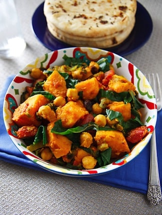 Curried sweet potatoes with chard and chickpeas from Wild About Greens