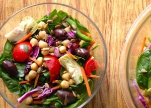 Spinach, chickpea, and artichoke salad