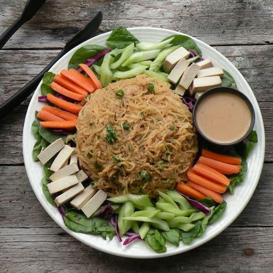 Asian noodle platter with peanut sauce