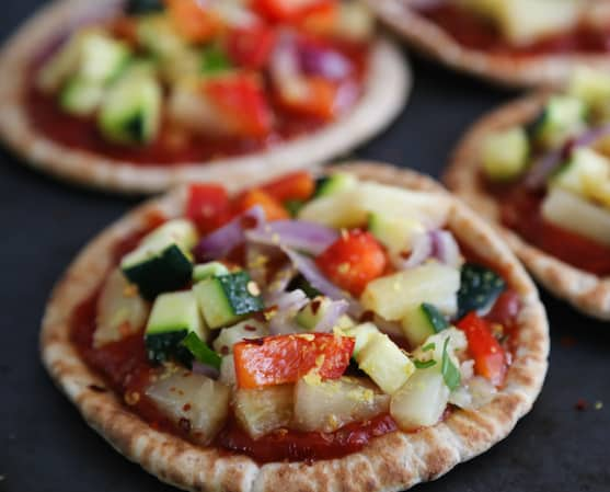 Pineapple and Veggie Pita Pizza recipe
