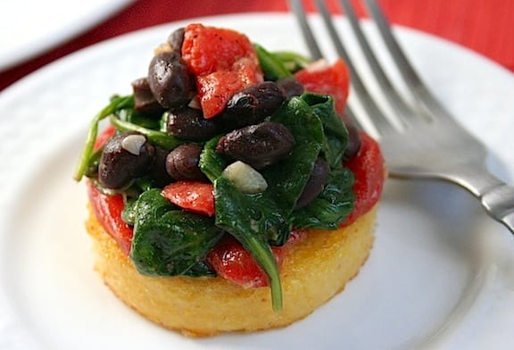 Polenta with Black Beans and Spinach recipe