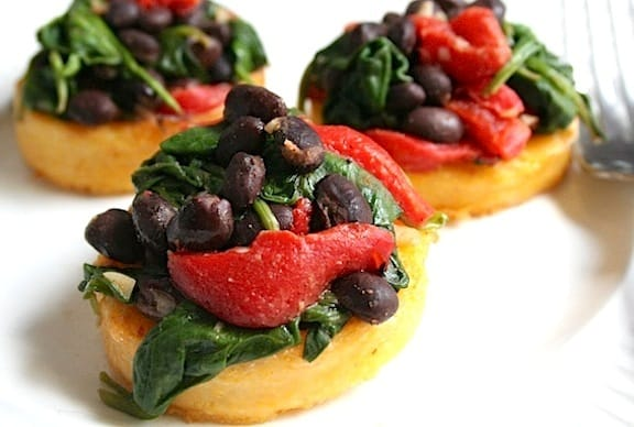 Polenta with Black Beans and Spinach - recipe