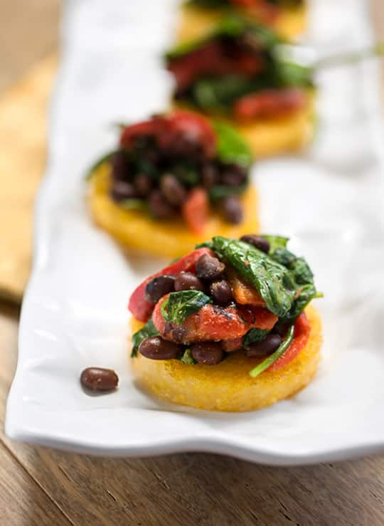Polenta with black beans & spinach appetizer
