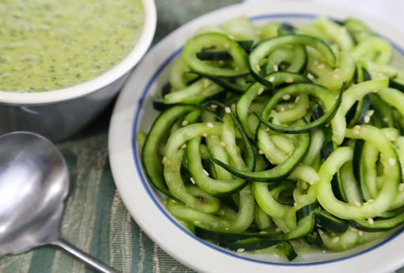 Spiralized Cucumber salad