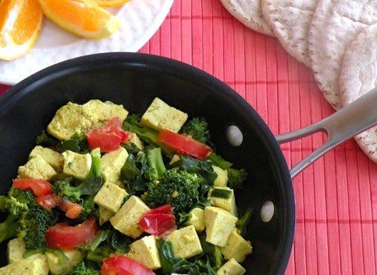 Broccoli and spinach veggie scrambled tofu